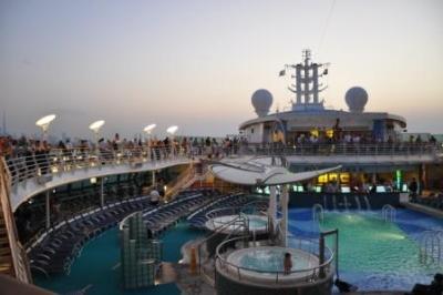 Op dek van een cruiseschip