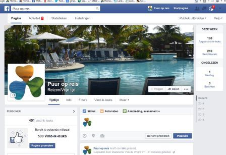 Facebookpagina Puur op reis