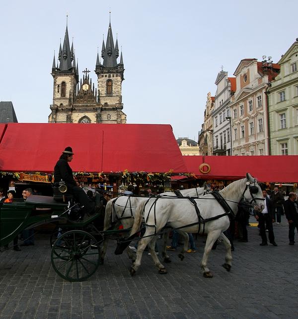 Koets in centrum van Praag